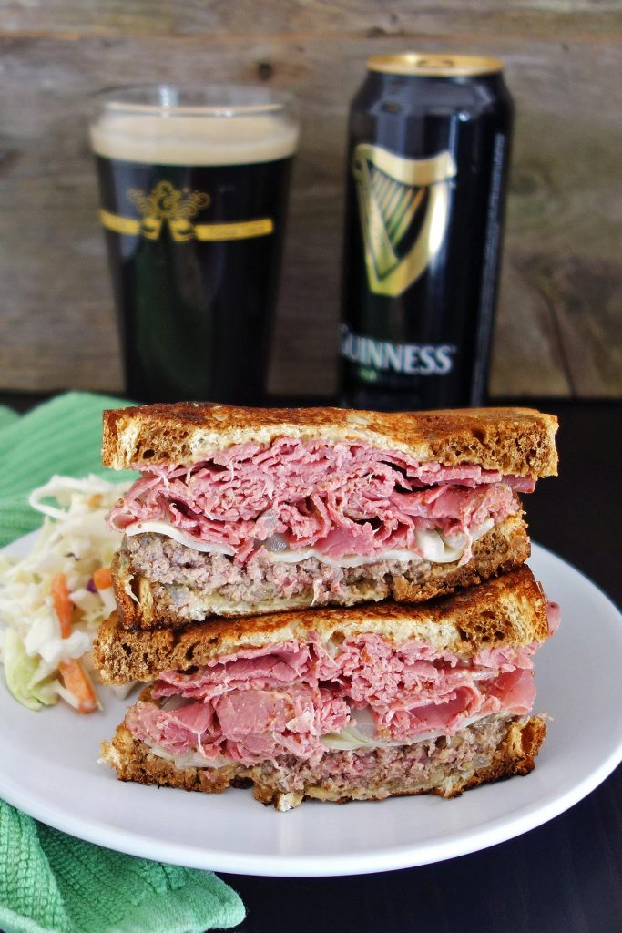 Irish Burger with Guinness mustard & corned beef